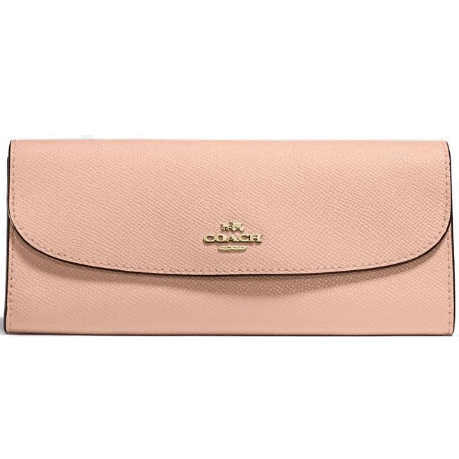 Coach Soft Wallet In Crossgrain Leather Nude Pink / Gold # F59949