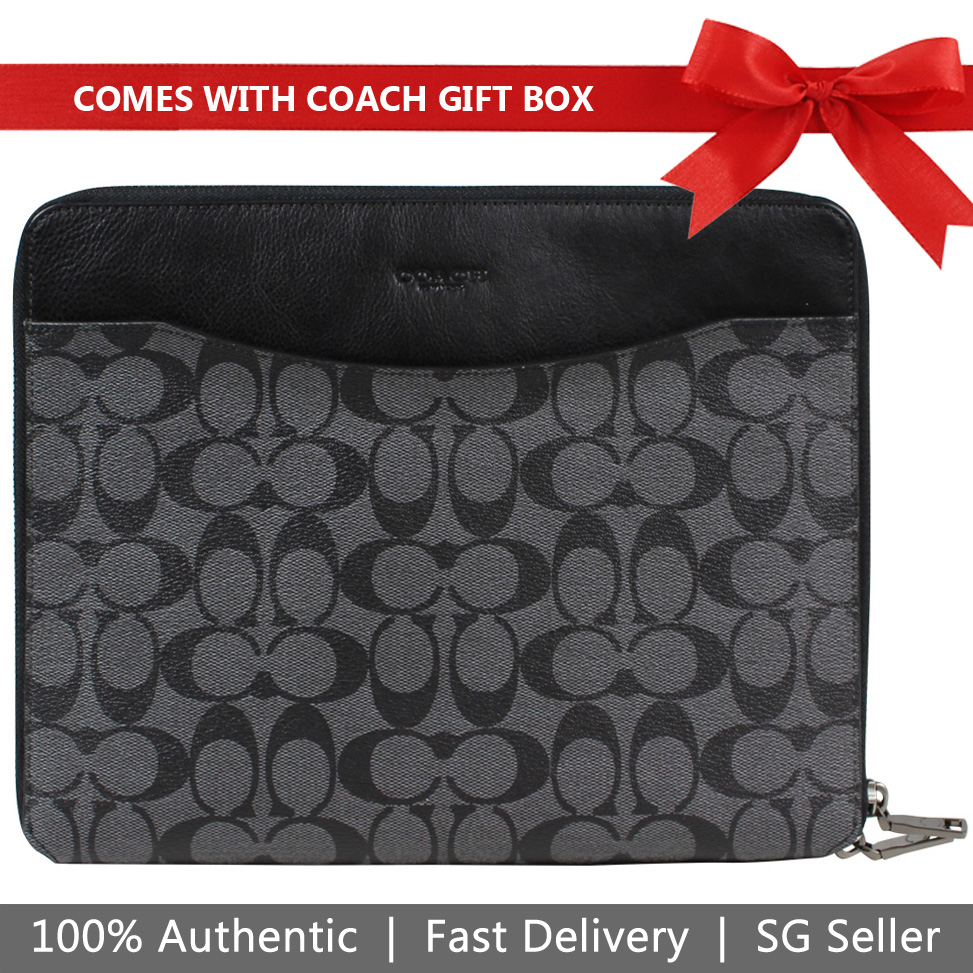 Coach Tablet Case In Gift Box Tech Case In Signature iPad Tablet Case Cover Sleeve Charcoal / Black # F64562