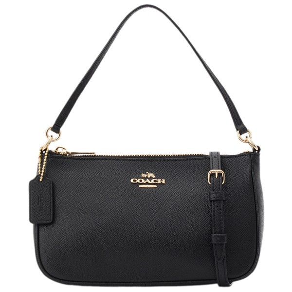 Coach Top Handle Pouch Light Gold / Black # F25591