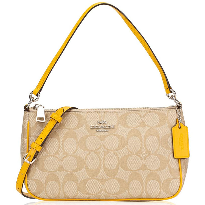 Coach Top Handle Pouch Light Khaki / Canary Yellow / Silver # F58321