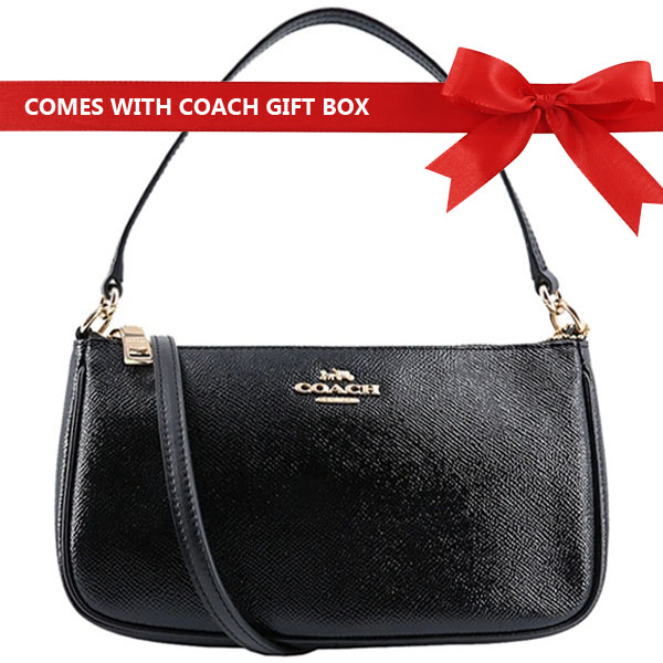 Coach Top Handle Pouch Leather Crossbody Bag Black / Gold # F32211