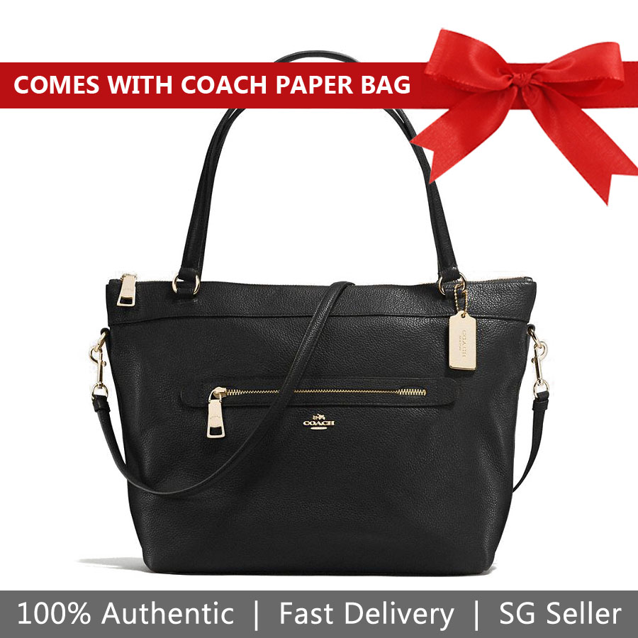 Coach Tote Crossbody Bag Tyler Tote In Pebble Leather Black / Gold # F54687
