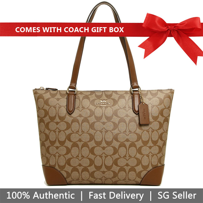 Coach Tote In Gift Box Shoulder Bag Zip Top Tote In Signature Canvas Khaki / Saddle Brown 2 # F29208