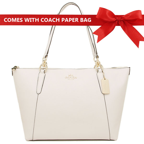 Coach Tote Shoulder Bag Ava Tote In Crossgrain Leather Chalk White / Gold # F57526