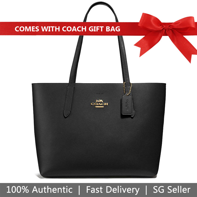 Coach Tote With Gift Bag Avenue Tote Shoulder Bag Black / Red # F31535