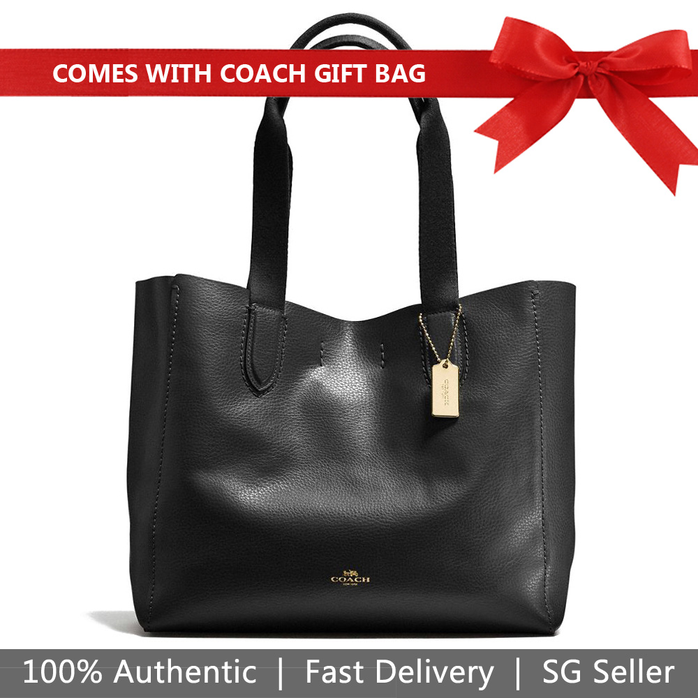 Coach Tote With Gift Bag Derby Tote In Pebble Leather Black Oxblood / Gold # F58660