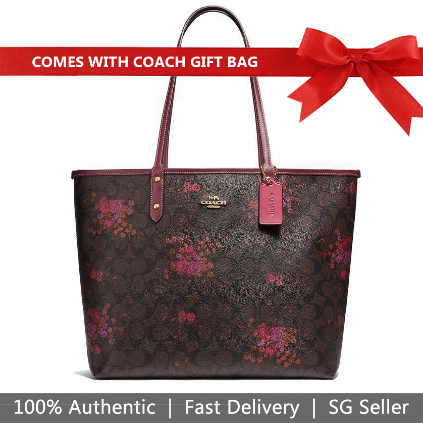 Coach Tote With Gift Bag Shoulder Bag Reversible City Tote In Signature Canvas With Floral Bundle Print Brown / Metallic Currant # F37807