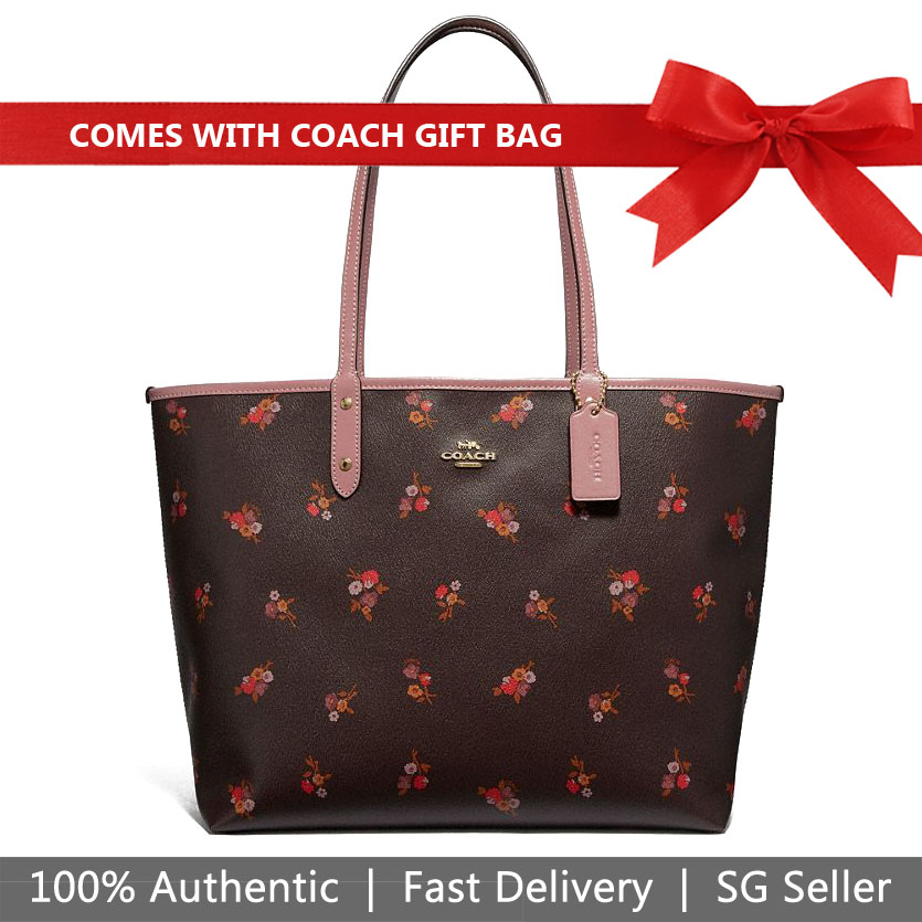 Coach Tote With Gift Bag Shoulder Bag Reversible City Tote With Baby Bouquet Print Oxblood Dark Red # F31995