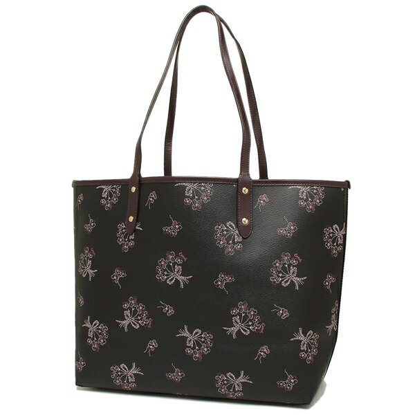 Coach Tote With Gift Bag Shoulder Bag Reversible City Tote With Ribbon Bouquet Print Black Pink / Oxblood # F78283