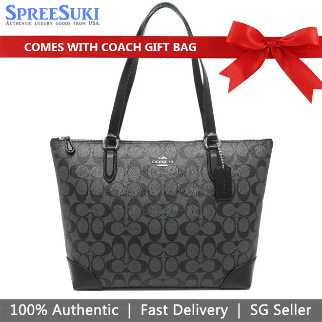 Coach Tote With Gift Bag Shoulder Bag Zip Top Tote In Signature Canvas Black Smoke # F29208