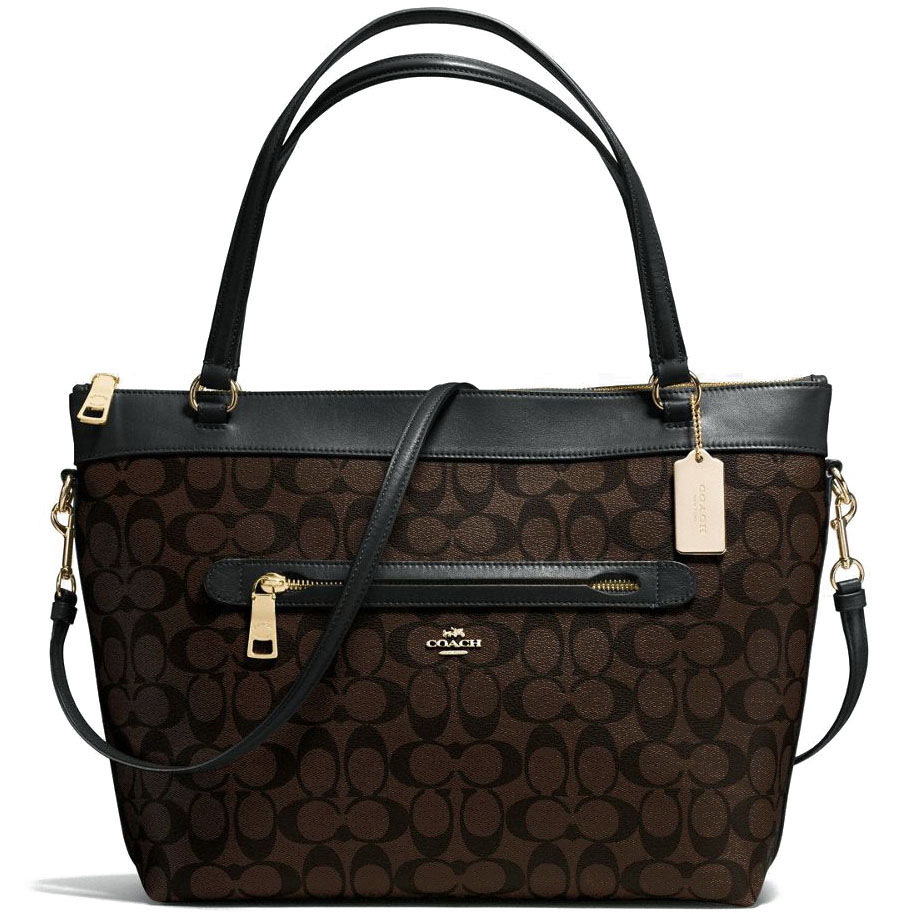 Coach Tyler Tote In Signature Coated Canvas Gold / Black / Brown # F58286