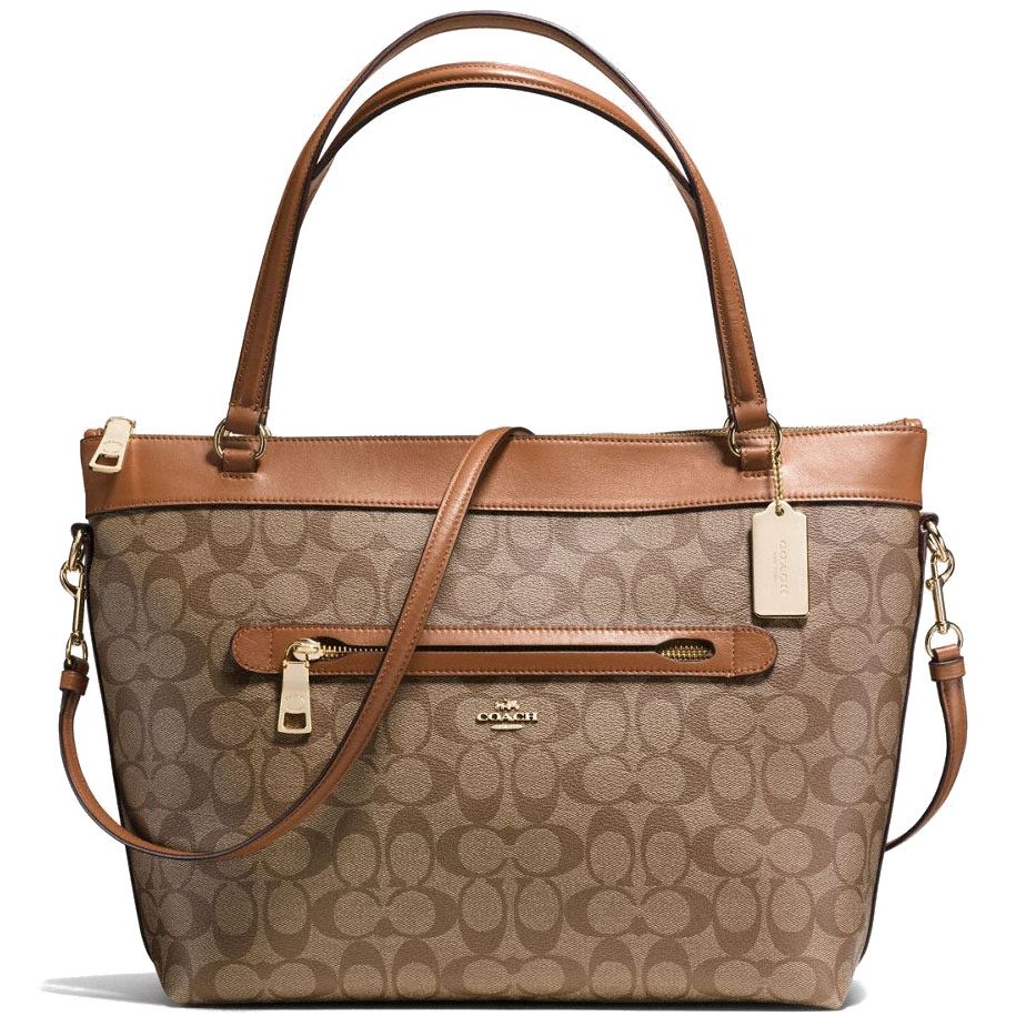 Coach Tyler Tote In Signature Coated Canvas Gold / Khaki / Saddle Brown # F58286