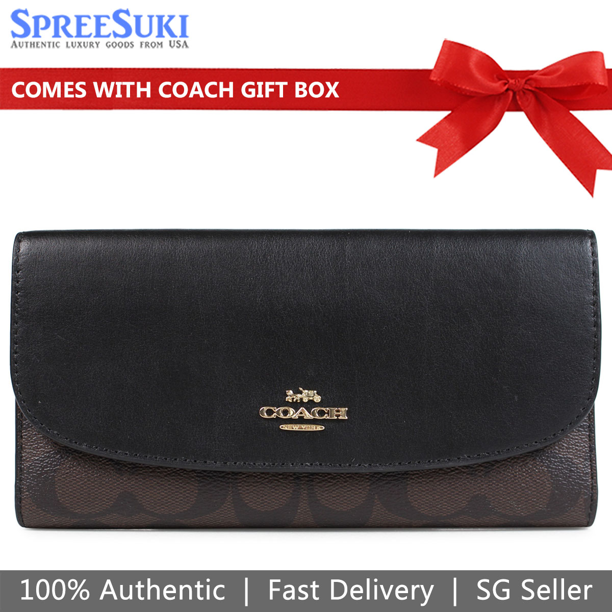 Coach Checkbook Wallet Pvc And Leather Brown Black # F57319