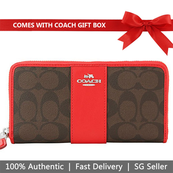 Coach Wallet In Gift Box Accordion Zip Wallet Brown / Bright Red # F54630