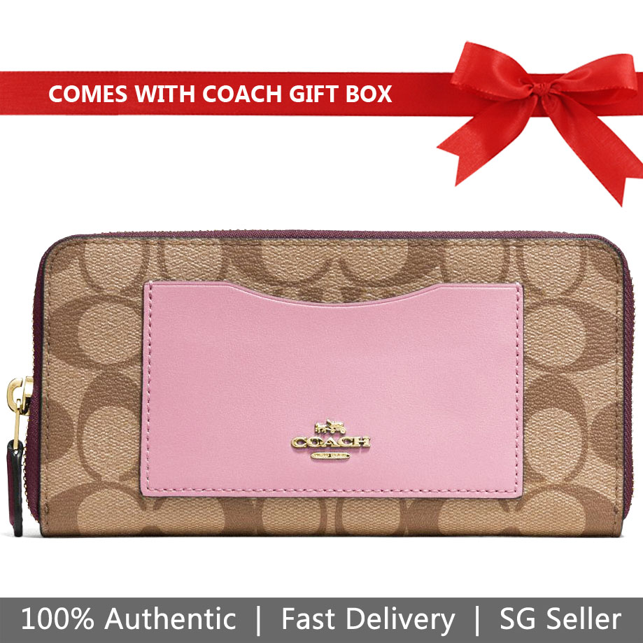 Coach Wallet In Gift Box Accordion Zip Wallet In Colorblock Signature Long Wallet Khaki / Oxblood # F57318
