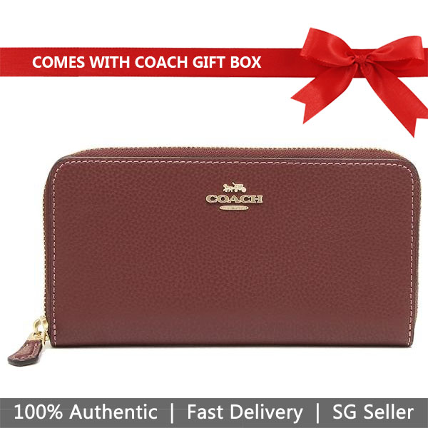 Coach Wallet In Gift Box Accordion Zip Wallet In Polished Pebble Leather Long Wallet Zip Around Wallet Wine Dark Red Purple # F16612