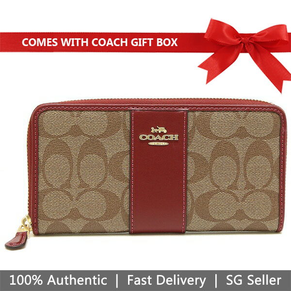 Coach Wallet In Gift Box Accordion Zip Wallet In Signature Canvas Khaki / Cherry # F54630