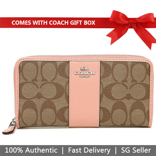 Coach Wallet In Gift Box Accordion Zip Wallet In Signature Canvas Khaki / Petal Pink # F54630