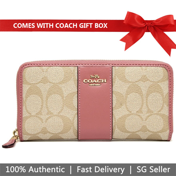 Coach Wallet In Gift Box Accordion Zip Wallet In Signature Canvas Light Khaki / Vintage Pink # F54630