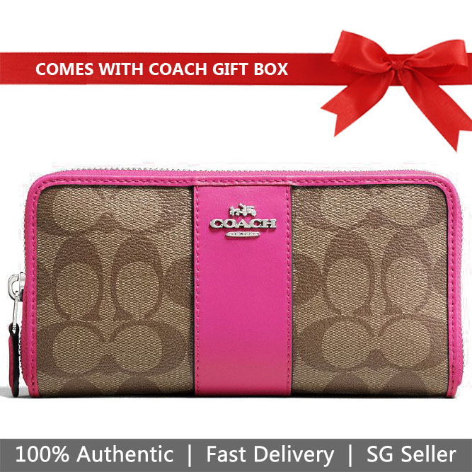 Coach Wallet In Gift Box Accordion Zip Wallet In Signature Canvas Long Wallet Khaki / Cerise # F54630