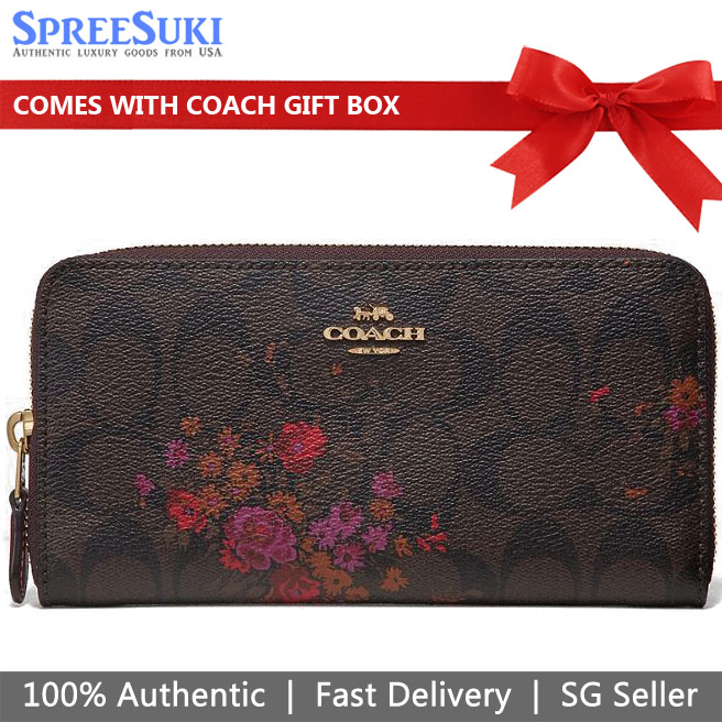 Coach Accordion Zip Wallet In Signature Canvas With Floral Bundle Print Brown / Metallic Current # F39156
