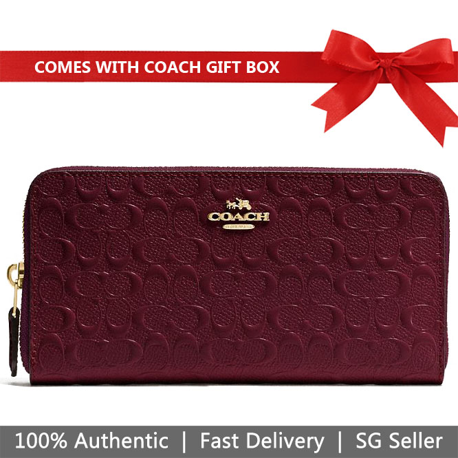 Coach Wallet In Gift Box Accordion Zip Wallet In Signature Debossed Patent Leather Oxblood Dark Red # F54805