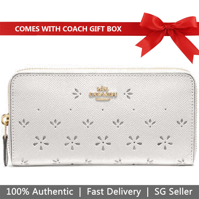 Coach Wallet In Gift Box Accordion Zip Wallet Long Wallet Chalk White # F29383