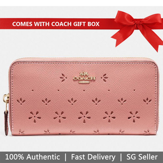 Coach Wallet In Gift Box Accordion Zip Wallet Long Wallet Vintage Pink # F29383