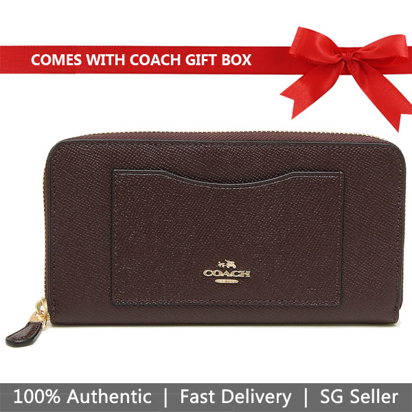 Coach Wallet In Gift Box Accordion Zip Wallet Oxblood Darker Red / Gold # F54007
