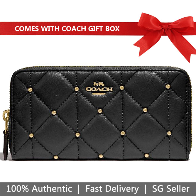 Coach Wallet In Gift Box Accordion Zip Wallet With Quilting Black # F15763