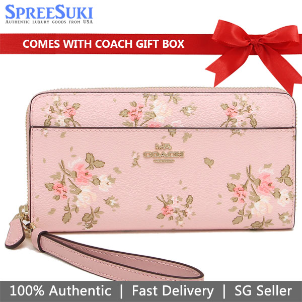Coach Accordion Zip Wallet With Rose Bouquet Print Blossom Pink # 89966