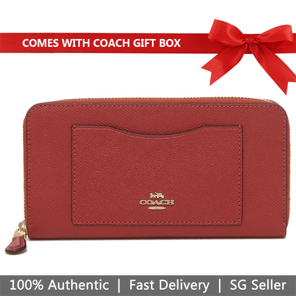 Coach Wallet In Gift Box Accordion Zip Wallet Zip Around Long Wallet Washed Red # F54007