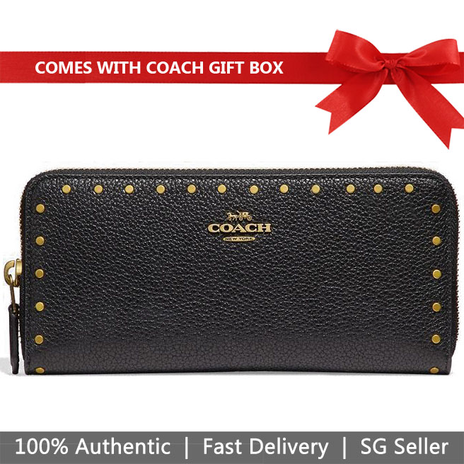 Coach Wallet In Gift Box Accordion Zip With Rivets Black # 32742