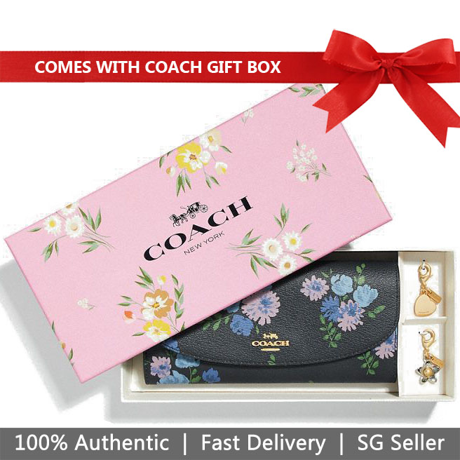 Coach Wallet In Gift Box Boxed Slim Envelope Wallet With Painted Peony Print Navy Dark Blue # F73352