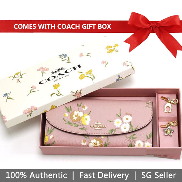 Coach Wallet In Gift Box Boxed Slim Envelope Wallet With Tossed Daisy Print Carnation Pink # F73015