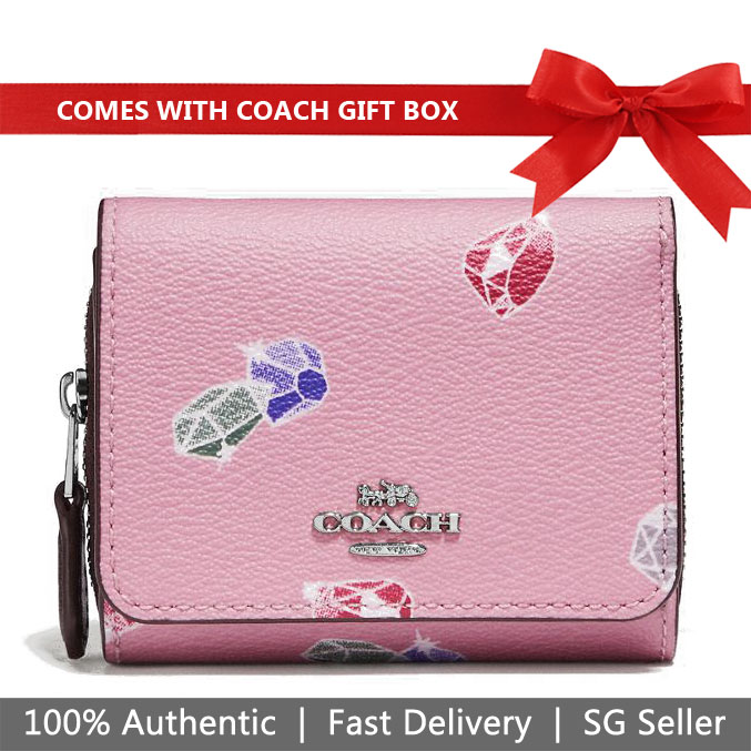 Coach Wallet In Gift Box Disney X Coach Small Trifold Wallet With Snow White Gems Print Tulip Purple # F73477
