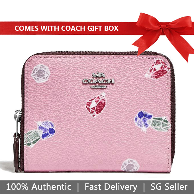 Coach Wallet In Gift Box Disney X Coach Small Zip Around Wallet With Snow White Gems Print Small Wallet Tulip Purple # F73472