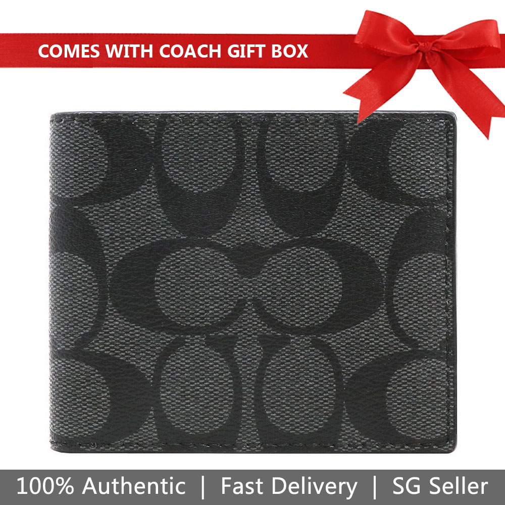 Coach Wallet In Gift Box Id Billfold Wallet In Signature Canvas Charcoal / Black / Black Antique Nickel # F66551