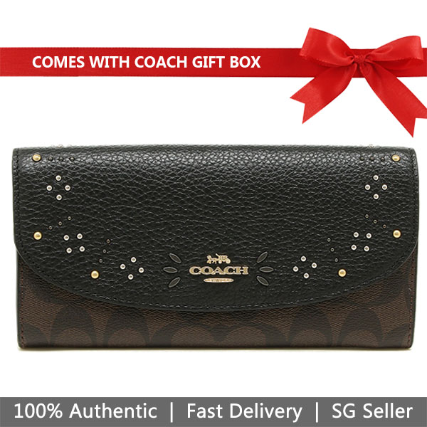 Coach Wallet In Gift Box Large Wallet Slim Envelope Wallet In Signature Canvas With Rivets Brown / Black # F31604