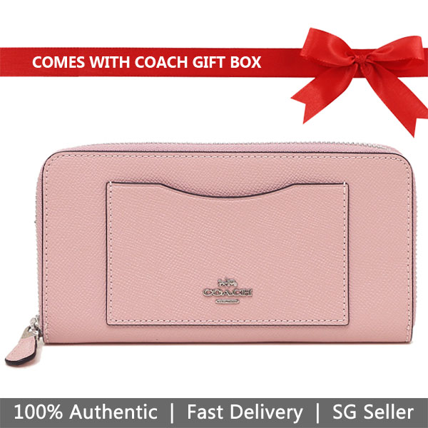 Coach Wallet In Gift Box Long Wallet Accordion Zip Wallet Carnation Pink # F54007