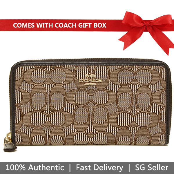 Coach Wallet In Gift Box Long Wallet Accordion Zip Wallet In Outline Signature Khaki Brown # F54633