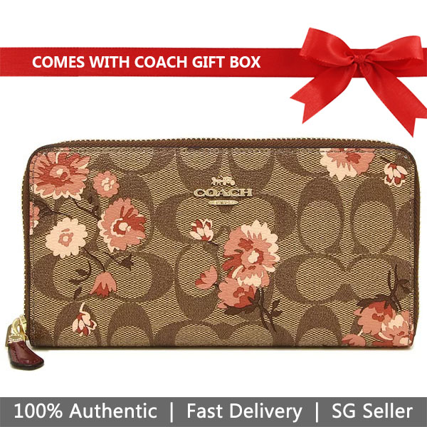 Coach Wallet In Gift Box Long Wallet Accordion Zip Wallet In Signature Canvas Prairie Daisy Cluster Print Khaki Coral # F78018