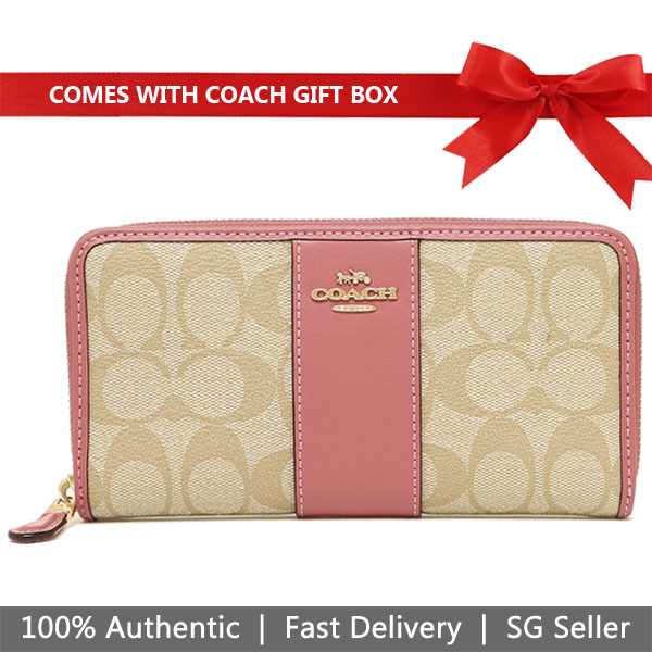 Coach Wallet In Gift Box Long Wallet Accordion Zip Wallet In Signature Coated Canvas With Leather Stripe Light Khaki / Peony Pink # F54630