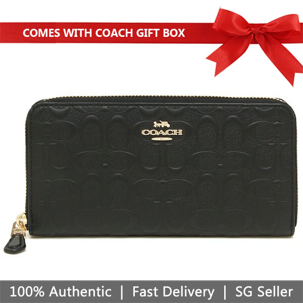 Coach Wallet In Gift Box Long Wallet Accordion Zip Wallet In Signature Leather Black # F67566