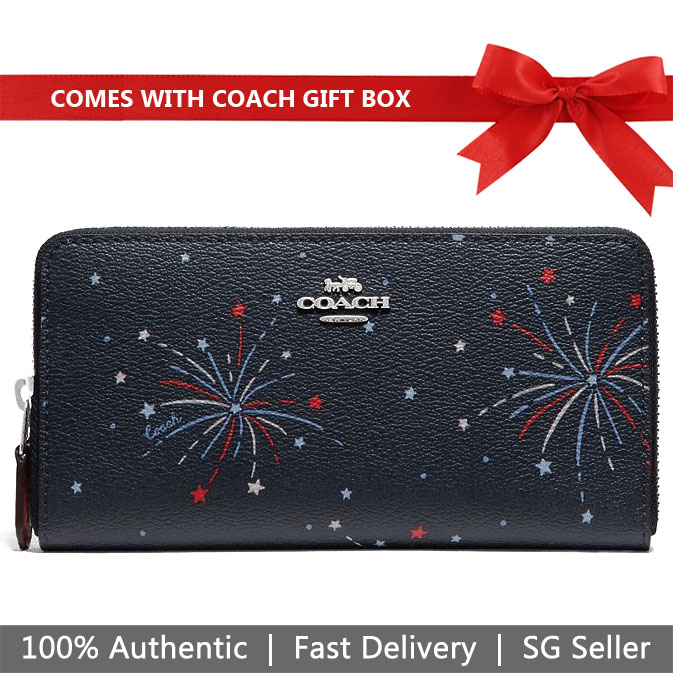 Coach Wallet In Gift Box Long Wallet Accordion Zip Wallet With Fireworks Print Navy Dark Blue # F73625
