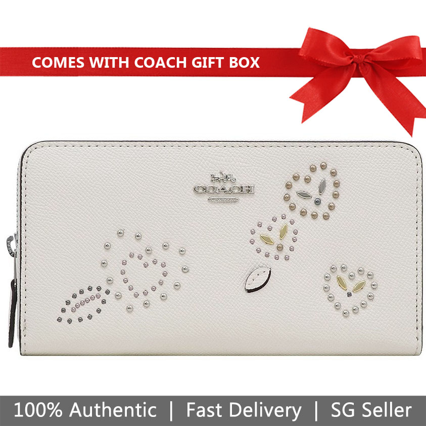Coach Wallet In Gift Box Long Wallet Accordion Zip Wallet With Heart Bandana Rivets Chalk Off White # F67495