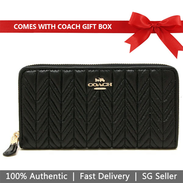 Coach Wallet In Gift Box Long Wallet Accordion Zip Wallet With Quilting Black # F75802