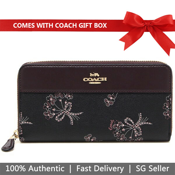 Coach Wallet In Gift Box Long Wallet Accordion Zip Wallet With Ribbon Bouquet Print Black / Pink # F76870