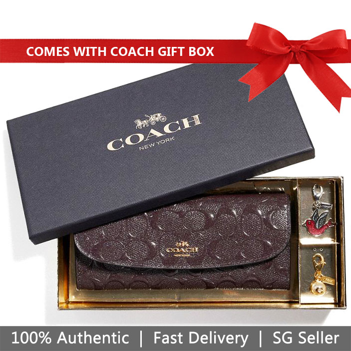 Coach Wallet In Gift Box Long Wallet Boxed Soft Wallet With Charms Oxblood Dark Red # F23397