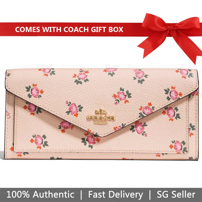Coach Wallet In Gift Box Long Wallet Soft Wallet With Floral Bloom Print Beechwood Nude Beige Floral Bloom Beige Nude # 27280
